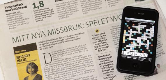 Wordfeud i tidningen Metro