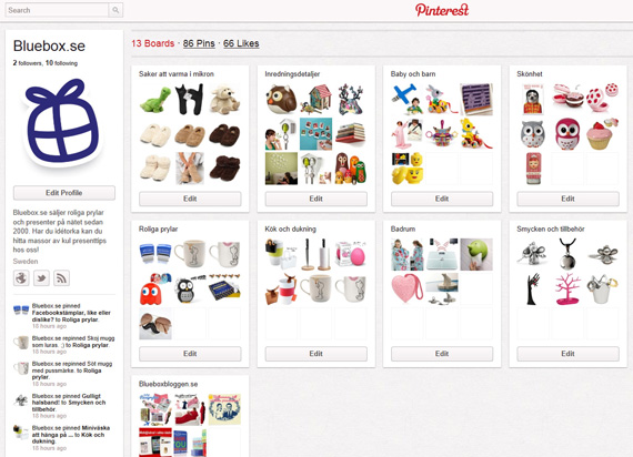 Bluebox.se på Pinterest